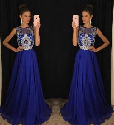 Luxury Dark Royal Blue Sleeveless Evening Dress UKes UK Long Chiffon With Appliques Beadings AP0_3