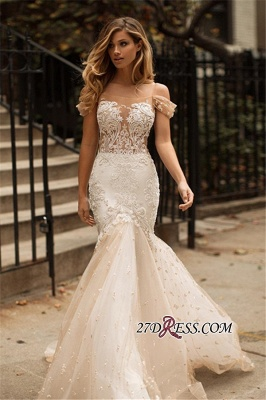 Tulle Newest Off-the-Shoulder Appliques Sexy Mermaid Wedding Dress_2