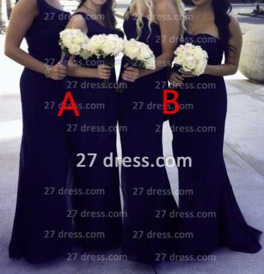 Sexy one shoulder seweetheart long chiffon different style bridesmaid Dress UK_1