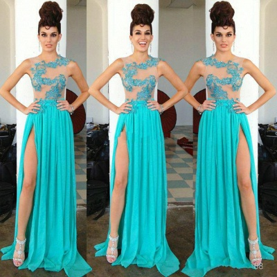 Modern Chiffon Appliques Sequined Prom Dress UK Front Split Sweep Train_4