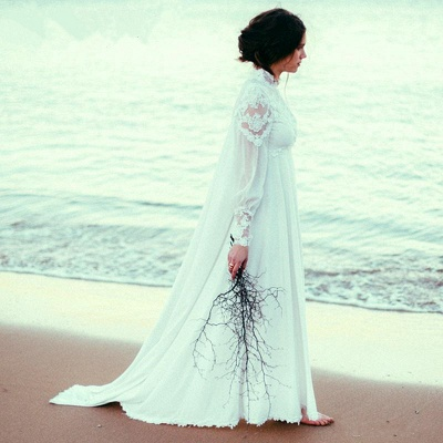 Modern High Neck Tulle Wedding Dress With Lace Appliques_3
