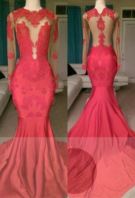 Gorgeous Long Sleeve Red Prom Dress UK Mermaid With Lace Appliques On Sale BA8522_1
