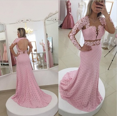 Gorgeous Pink Mermaid Lace Appliques Prom Dress UK Open Back_2