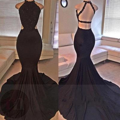 Backless Mermaid Lace Sleeveless Black Long Prom Dress UKes UK ly149_1