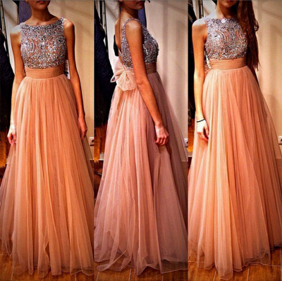 Gorgeous Tulle Beadings Crystals Prom Dress UK Long Bowknot Back BA4874_2