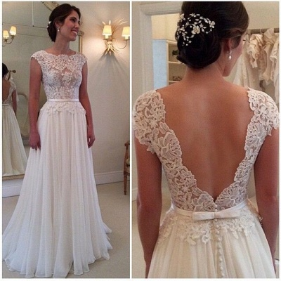 Long Lace Open Back Wedding Dress Sleeveless Elegant_1