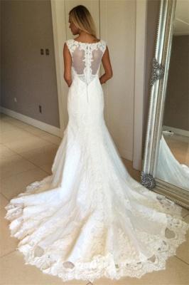Elegant Sexy Mermaid Sleeveless Wedding Dress Lace Appliques Bridal Gowns_4