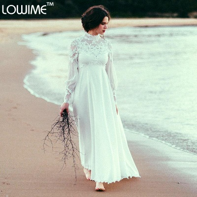 Modern High Neck Tulle Wedding Dress With Lace Appliques_1
