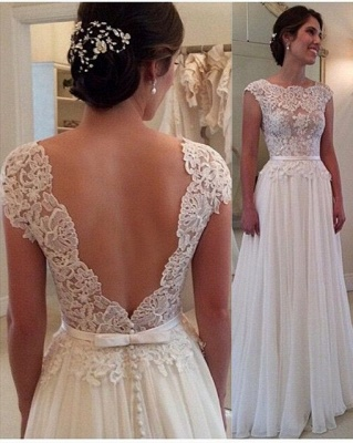 Long Lace Open Back Wedding Dress Sleeveless Elegant_2