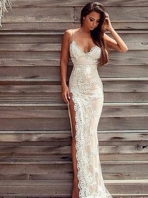 Luxury Lace Appliques Split Spaghetti-Straps Prom Dress UK_1