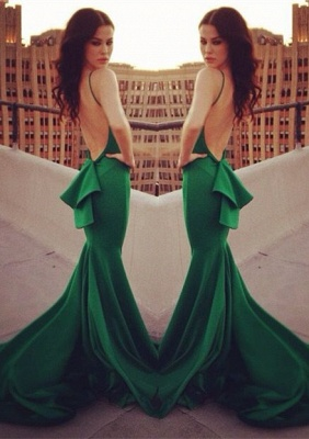 Elegant Mermaid Open Back Prom Dress UK Ruffles Sweep Train_1