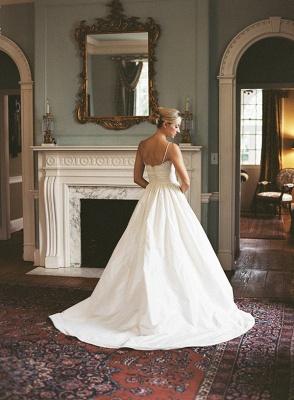 Modest Spaghetti Strap Lace Wedding Dress A-line Sleeveless Zipper BA4625_4