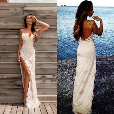 Luxury Lace Appliques Split Spaghetti-Straps Prom Dress UK_4