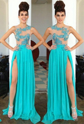 Modern Chiffon Appliques Sequined Prom Dress UK Front Split Sweep Train_1