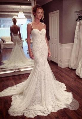 Sexy Mermaid Lace Court Train Wedding Dress Spaghetti Strap_1