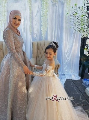 Long-Sleeve Lace Gown Romantic Ball Flower Girls Dresses BA7399_4