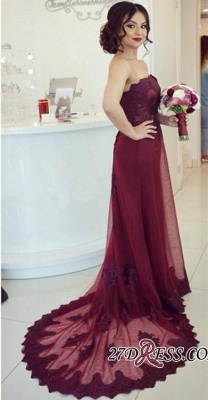 Burgundy Appliques Court-Train Strapless Lace Sexy Sexy Open-Back Prom Dress UK_2