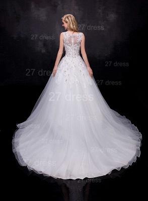 Modern Lace Appliques Wedding Dress Tulle Court Train_3