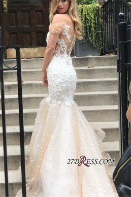 Tulle Newest Off-the-Shoulder Appliques Sexy Mermaid Wedding Dress_1