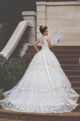 Elegant Tulle Lace Appliques Illusion Wedding Dress Ball Gown Zipper_7