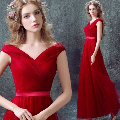 Newest Red Off-the-shoulder A-line Prom Dress UK Lace-up Floor-length_4