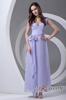 Open-Back Popular Ankle-Length Sexy V-neck Chiffon Lavender Bridesmaid Dress UKes UK_6