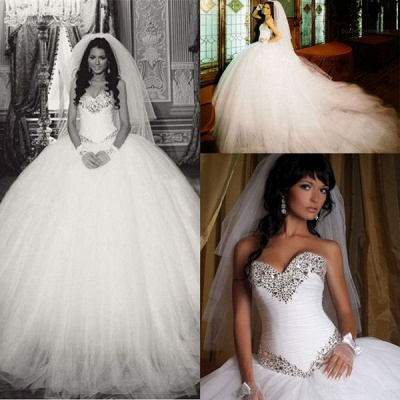 Elegant Ball Gown Tulle Wedding Dress Crystals White Court Train_2