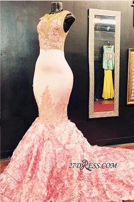 Luxury Illusion Appliques Flowers-Bottom Pink Sleeveless Lace Mermaid Prom Dress UK_2