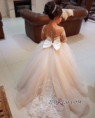 Long-Sleeve Lace Gown Romantic Ball Flower Girls Dresses BA7399_5