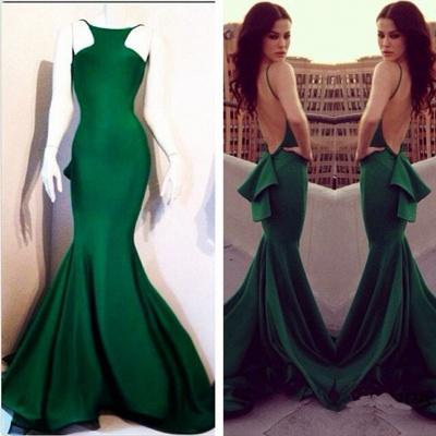 Elegant Mermaid Open Back Prom Dress UK Ruffles Sweep Train_3