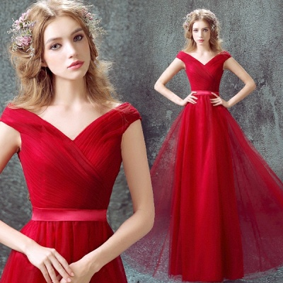 Newest Red Off-the-shoulder A-line Prom Dress UK Lace-up Floor-length_3