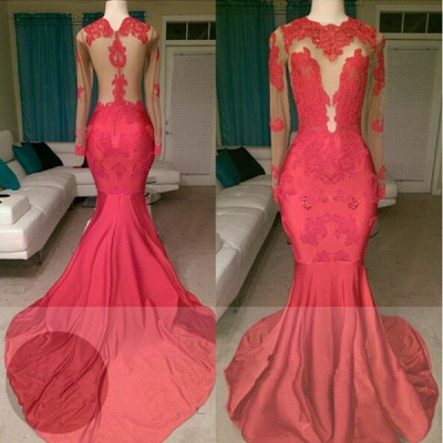 Gorgeous Long Sleeve Red Prom Dress UK Mermaid With Lace Appliques On Sale BA8522_3