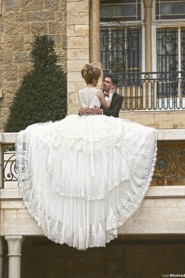 Elegant Tulle Lace Appliques Illusion Wedding Dress Ball Gown Zipper_4