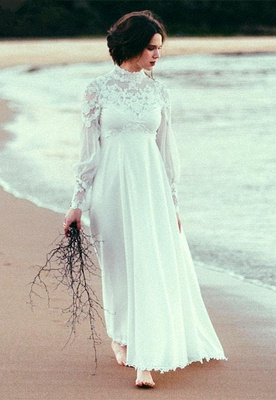 Modern High Neck Tulle Wedding Dress With Lace Appliques_6