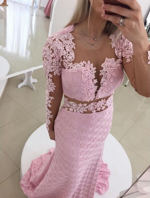 Gorgeous Pink Mermaid Lace Appliques Prom Dress UK Open Back_1