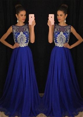 Luxury Dark Royal Blue Sleeveless Evening Dress UKes UK Long Chiffon With Appliques Beadings AP0_1