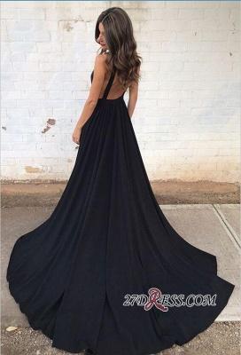 Sleeveless V-neck Straps Elegant Backless A-line Black Prom Dress UK sp0342_3
