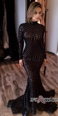 Sequined Black Mermaid High-Neck Elegant Long-Sleeves Prom Dress UK jj0085_3
