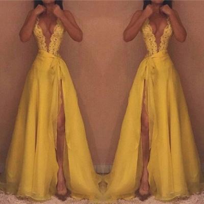 Yellow V-Neck Sleeveless Evening Dress UK | Lace Prom Dress UK With Split_3