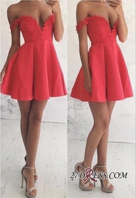 Lace Mini Off-the-shoulder A-line Newest Homecoming Dress UK BA4669_3