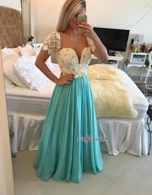 A-line Lace Pearls Short-Sleeve Chiffon Modest Prom Dress UK_2