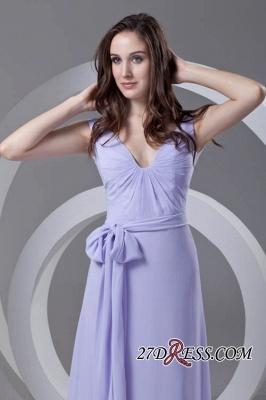 Open-Back Popular Ankle-Length Sexy V-neck Chiffon Lavender Bridesmaid Dress UKes UK_3