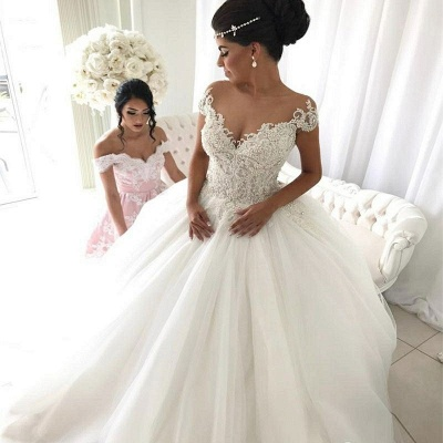 Modest Ball Gown Lace Off-the-shoulder Wedding Dress | Ivory Bridal Gown_3
