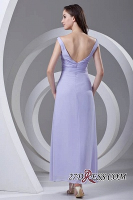 Open-Back Popular Ankle-Length Sexy V-neck Chiffon Lavender Bridesmaid Dress UKes UK_4