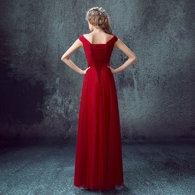 Newest Red Off-the-shoulder A-line Prom Dress UK Lace-up Floor-length_5