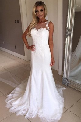 Elegant Sexy Mermaid Sleeveless Wedding Dress Lace Appliques Bridal Gowns_1
