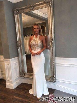 Sequined Newest Sleeveless Halter Sweep-Train Mermaid Prom Dress UK BA6597_1
