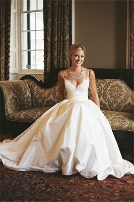 Modest Spaghetti Strap Lace Wedding Dress A-line Sleeveless Zipper BA4625_5