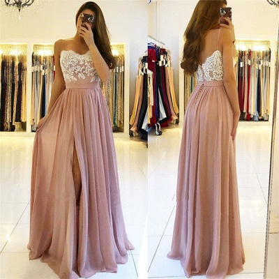 Sexy Lace Spaghetti Straps Prom Dress UK | Long Chiffon Evening Dress UK With Slit BA9633_3