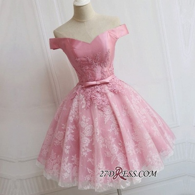 A-line Bowknot Off-the-Shoulder Pink Sexy Appliques Homecoming Dress UK_1